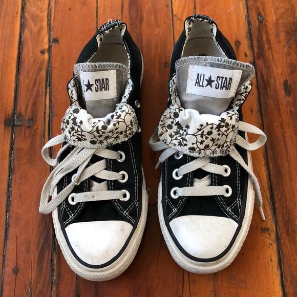 8e92864f7139 Converse Shoes - Black Floral Double tongue Converse